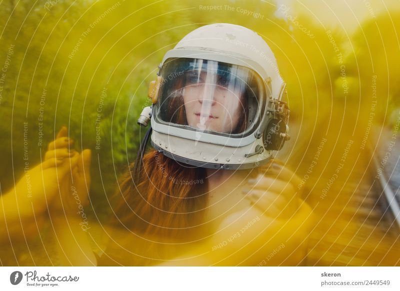 girl in the helmet of an astronaut walking on the rails Leisure and hobbies Playing Vacation & Travel Tourism Trip Adventure Human being Feminine 18 - 30 years