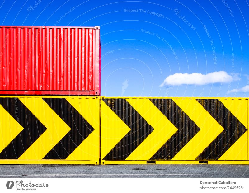 containerized Metal Sharp-edged Blue Yellow Red Black Container Container terminal Harbour Arrow Direction Clouds Geometry Industrial Industry Economy Logistics
