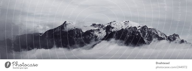 cloud castle Air Sky Clouds Alps Mountain Peak Switzerland Deserted Timidity Freedom Calendar Black & white photo Subdued colour Exterior shot Day Light