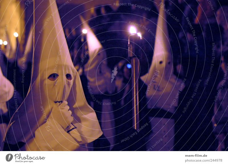 Semana Santa II Holy Week Spain Majorca Seville Hooded (clothing) Cap White Catholicism Christianity Procession Tradition Ghosts & Spectres  Eerie Mystic