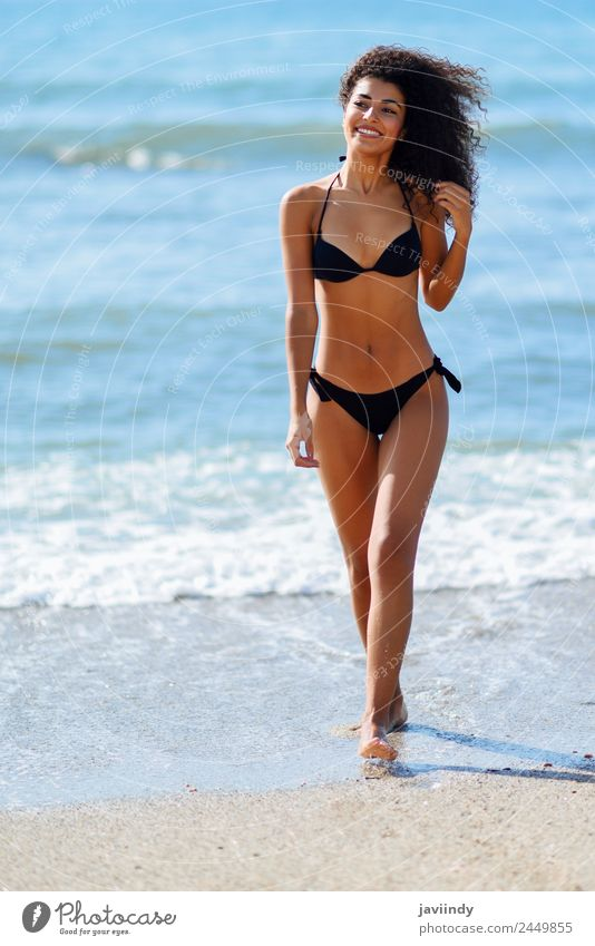 Young arabic woman with beautiful body in swimwear Lifestyle Happy Beautiful Body Hair and hairstyles Skin Leisure and hobbies Vacation & Travel Tourism Summer