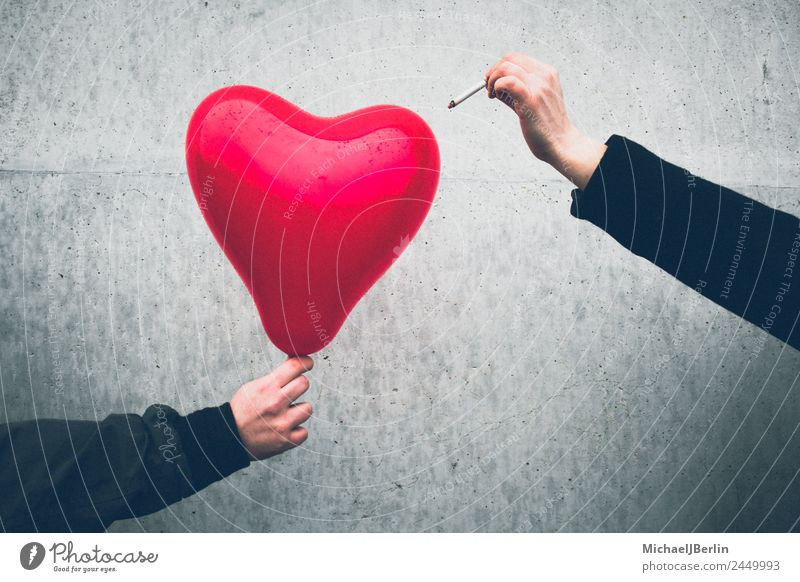 red heart balloon is destroyed with a cigarette Human being Masculine Feminine 2 Balloon Heart Love Sadness Red Black Emotions Grief Lovesickness Pain
