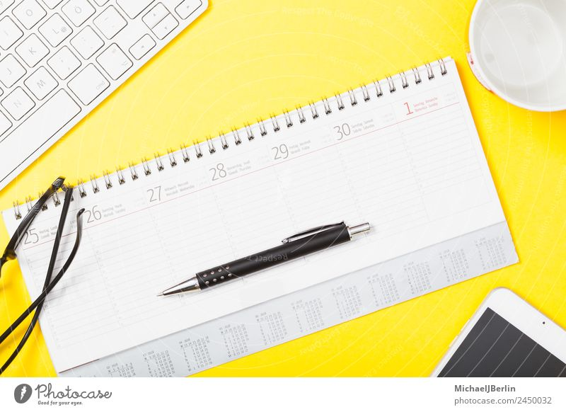 Calendar with pen and glasses on yellow background Office Paper Pen Yellow Business Background picture Date Clever Symbols and metaphors Text Eyeglasses