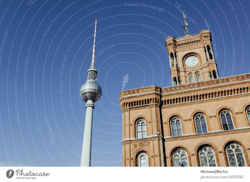 Television Tower and Red City Hall Berlin Berlin TV Tower Germany Capital city Downtown Deserted Building Architecture Tourist Attraction Landmark Blue Blue sky