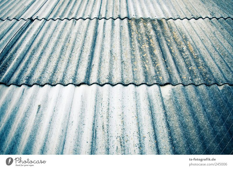 Blue House (Residential Structure) Wall (building) Gray Wall (barrier) Line Dirty Facade Concrete Stripe Roof Derelict Decline Symmetry Prefab construction