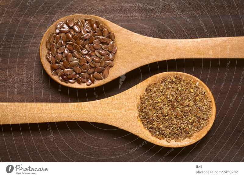 Brown Flax Seeds or Linseeds Nutrition Diet Spoon Healthy Natural food flaxseed linseed Raw supplement Fat fiber Protein nutritional dietary Cereal grain whole