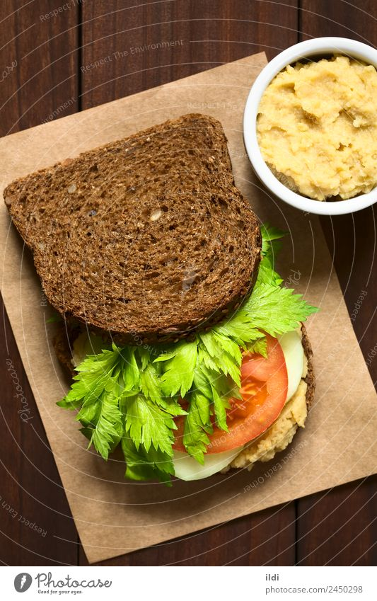 Vegan Wholegrain Sandwich Vegetable Bread Breakfast Vegetarian diet Fresh Healthy food wholegrain Wholewheat wholemeal Celery Tomato cucumber Spread hummus