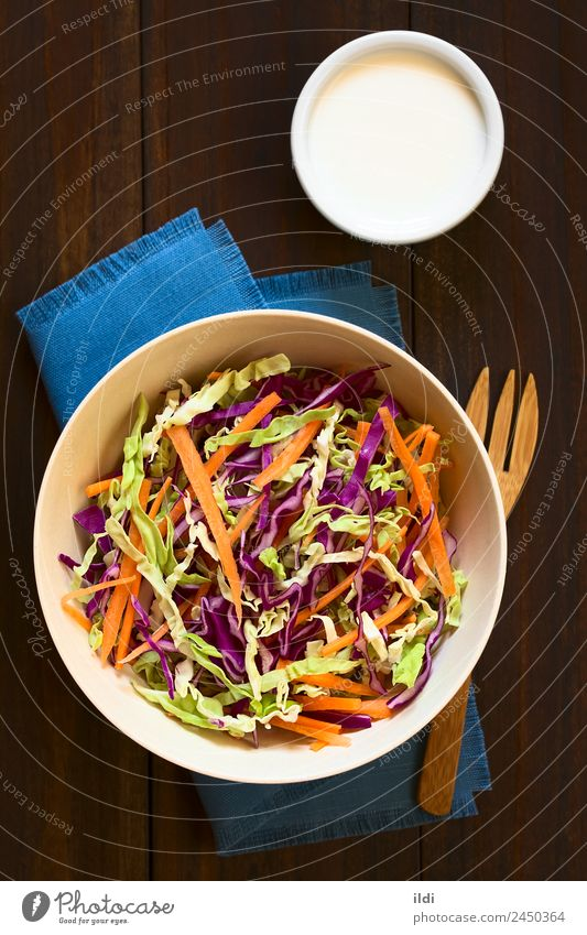 Coleslaw Vegetable Lettuce Salad Nutrition Vegetarian diet Fresh Healthy food cole cabbage Raw Carrot shredded Cut Home-made seasonal Meal Dish Snack appetizer