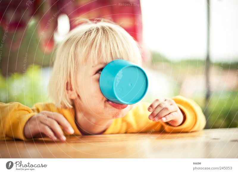Human being Child Hand Girl Joy Yellow Head Hair and hairstyles Funny Infancy Blonde Drinking To hold on Toddler Cup Sweater