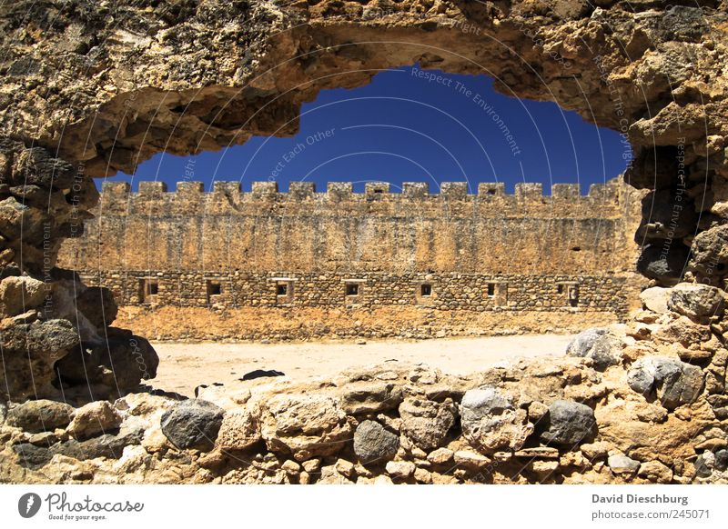 Hole against the wall Vacation & Travel Sightseeing Summer vacation Castle Ruin Manmade structures Wall (barrier) Wall (building) Facade Window