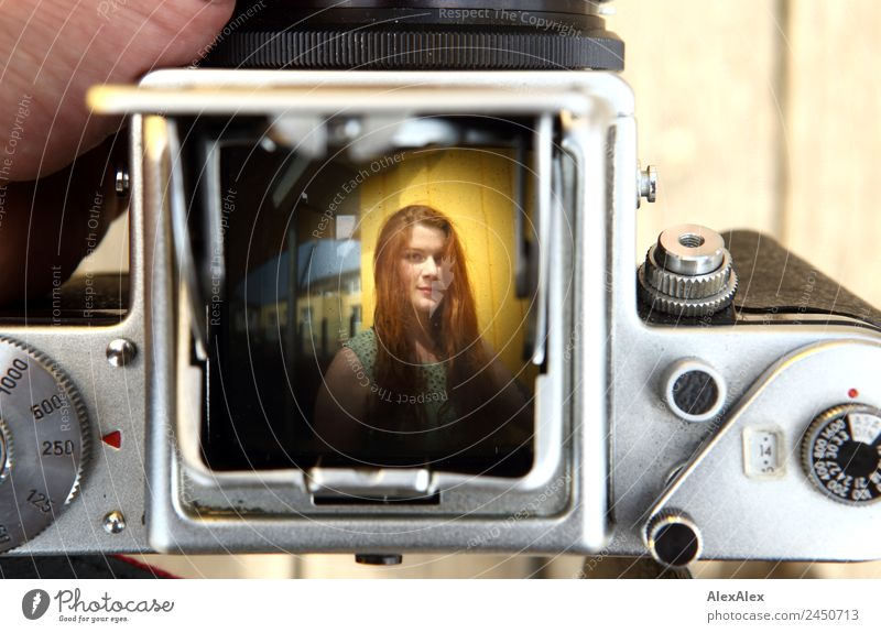 Image of a woman in the viewfinder of an analog camera Lifestyle Beautiful Harmonious Trip Camera pentacon six Young woman Youth (Young adults) 18 - 30 years