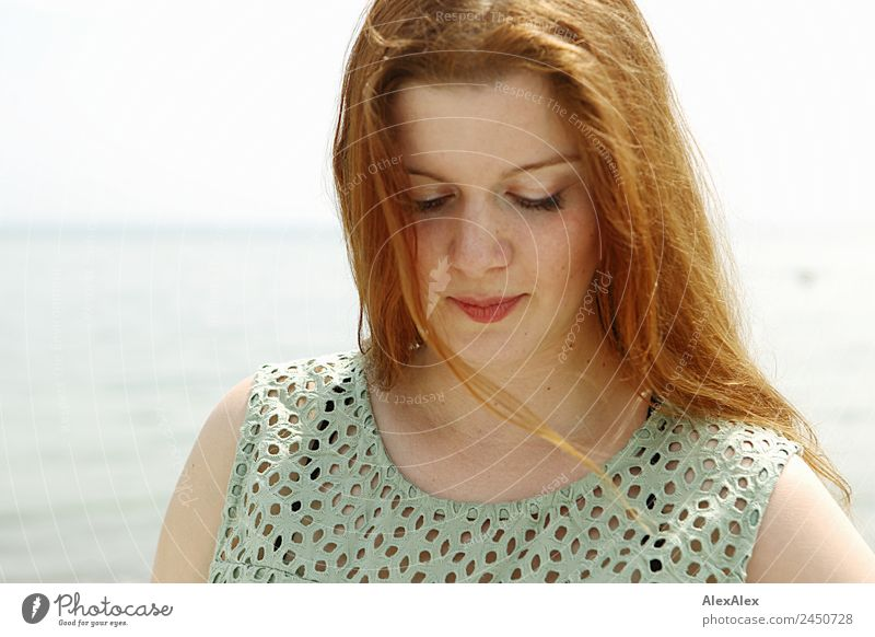 Portrait of a woman at the Baltic Sea Beautiful Harmonious Young woman Youth (Young adults) Adults Hair and hairstyles Face 18 - 30 years Landscape Horizon