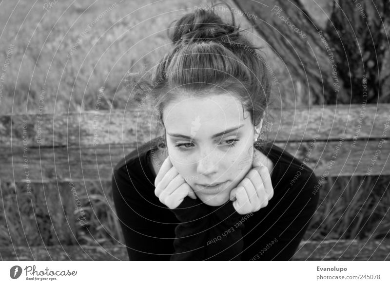 In thought Human being Feminine Young woman Youth (Young adults) Infancy Skin Head Hair and hairstyles Face Hand Dark Fresh Thin Gloomy Dry Soft Black White