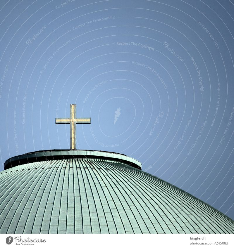 Blue Green Religion and faith Germany Church Europe Roof Christian cross Crucifix Christianity