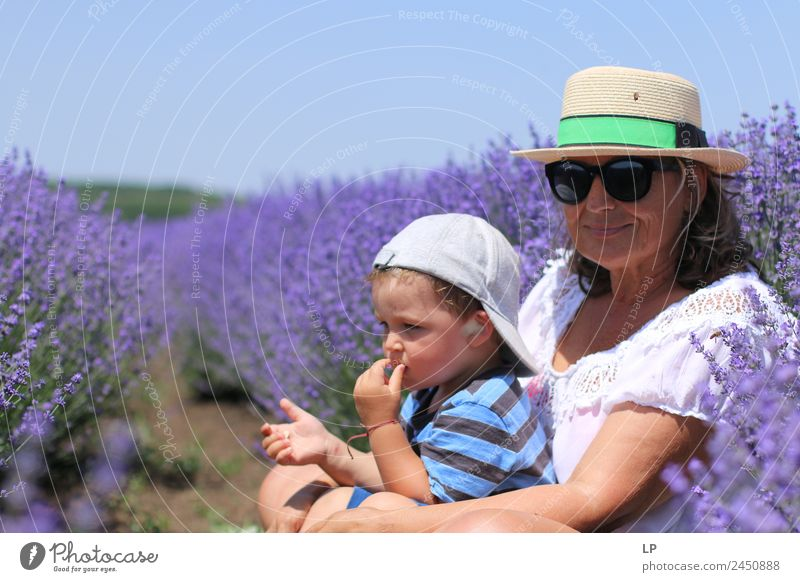 In the lavender field Woman Child Human being Beautiful Relaxation Joy Adults Lifestyle Senior citizen Emotions Family & Relations Style Living or residing