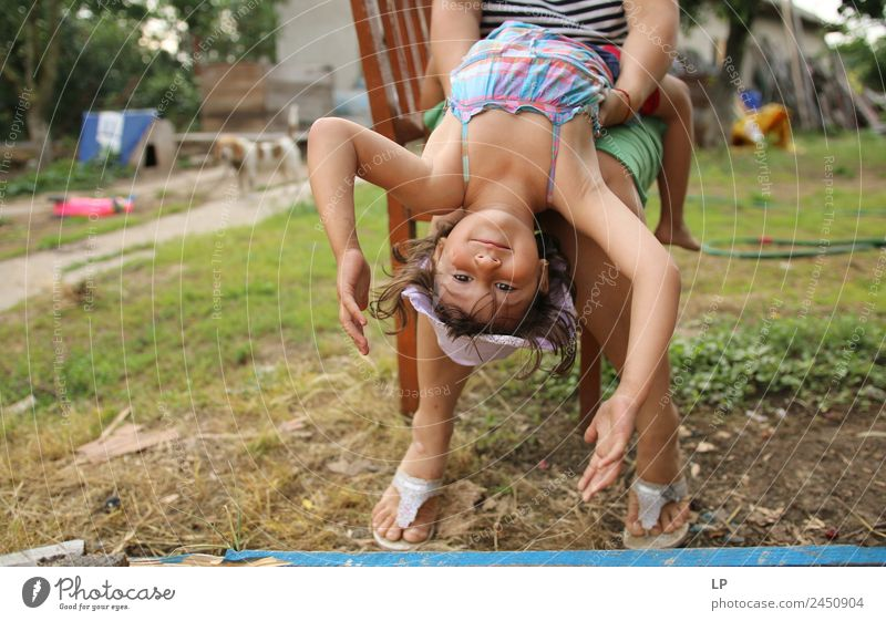 upside down Lifestyle Style Joy Relaxation Calm Vacation & Travel Parenting Education Kindergarten Human being Child Girl Brothers and sisters Grandparents