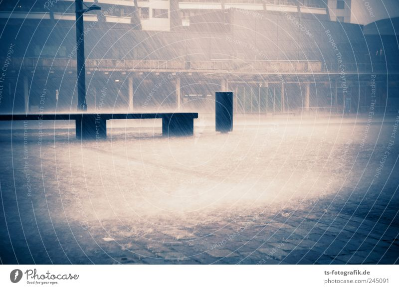 Blue Water City Summer Dark Autumn Cold Rain Wet Climate Places Elements Bench Storm Gale Downtown