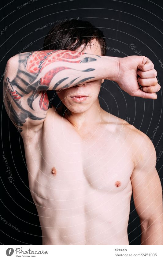 muscular guy with a tattoo on his arm Lifestyle Beautiful Carnival Sports Fitness Sports Training Sportsperson Success Human being Masculine Arm 1 18 - 30 years