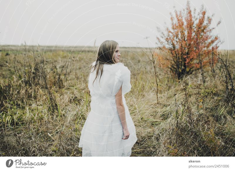 sad girl walking in autumn field Human being Nature Youth (Young adults) Young woman 18 - 30 years Adults Autumn Cold Feminine Meadow Garden Playing Exceptional