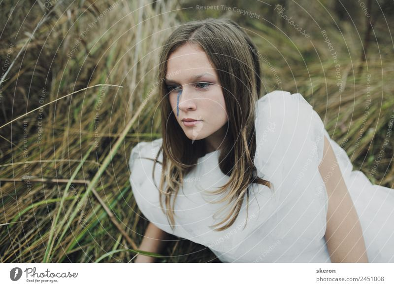 sad girl walking in autumn field Human being Nature Youth (Young adults) Young woman Plant Landscape 18 - 30 years Face Adults Sadness Fashion
