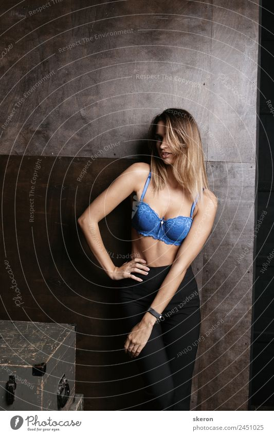 slim girl in bra Human being Youth (Young adults) Young woman Beautiful Eroticism 18 - 30 years Healthy Lifestyle Adults Wall (building) Feminine Sports