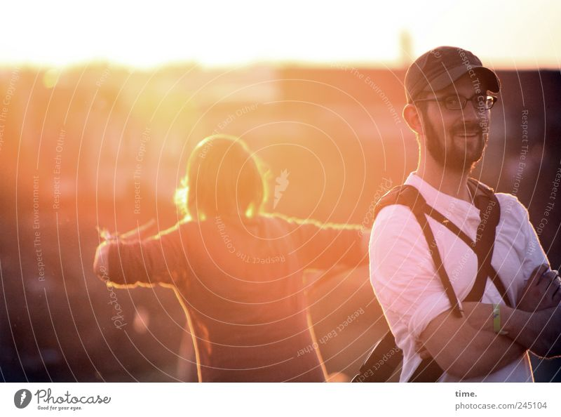 Human being Woman Man Red Summer Joy Adults Yellow Horizon Contentment Dance Back Arm Masculine Eyeglasses Smiling