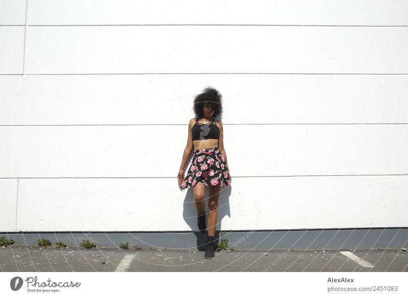 Woman in front of a white wall Style Beautiful Life Young woman Youth (Young adults) Adults 18 - 30 years Beautiful weather Wall (barrier) Wall (building)