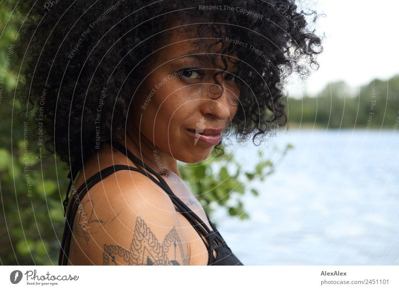 Portrait of a woman in a lake Beautiful Hair and hairstyles Face Young woman Youth (Young adults) Adults Freckles 18 - 30 years Nature Landscape