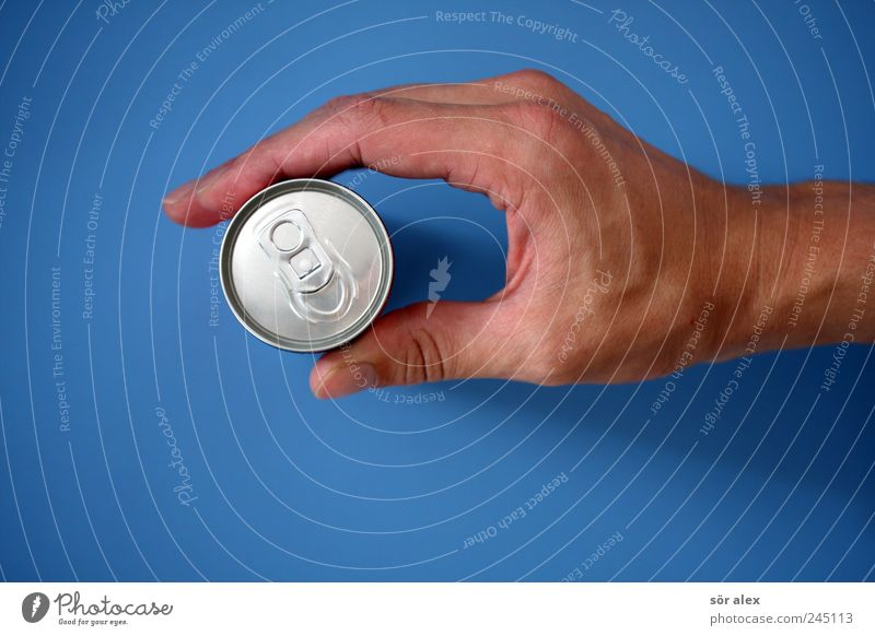 Blue Hand Masculine Energy Beverage Closed Fingers Drinking To hold on Fatigue Refreshment Silver Thirst Tin Thumb Cold drink