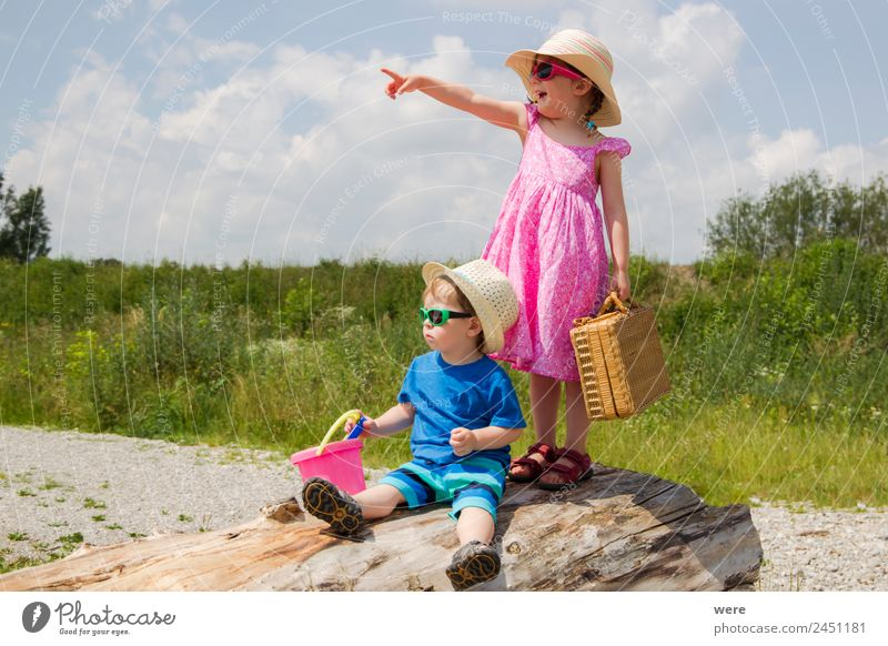 A boy and a girl in toddlerhood are standing on a log Beach Human being Baby Family & Relations Vacation & Travel Looking Dream Joy Anticipation Enthusiasm