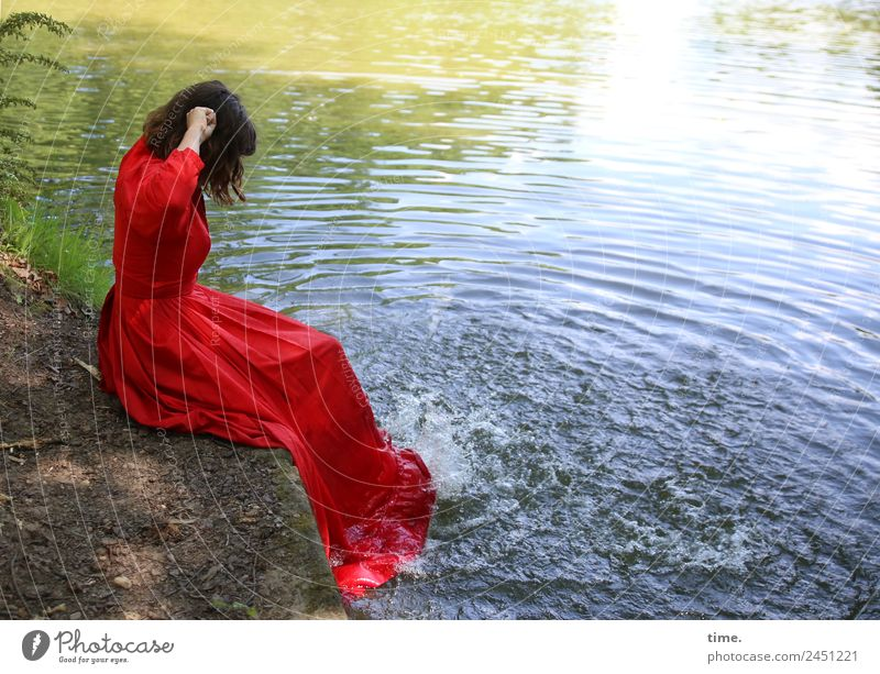 timeless | water splash guard Feminine Woman Adults 1 Human being Water Park Lakeside Dress Brunette Long-haired Movement Sit Playing Happiness Fresh Funny
