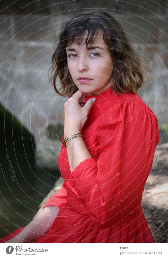 ulreka Feminine Woman Adults 1 Human being Park River bank Bridge Dress Brunette Long-haired Observe Think To hold on Looking Wait Beautiful Red Self-confident