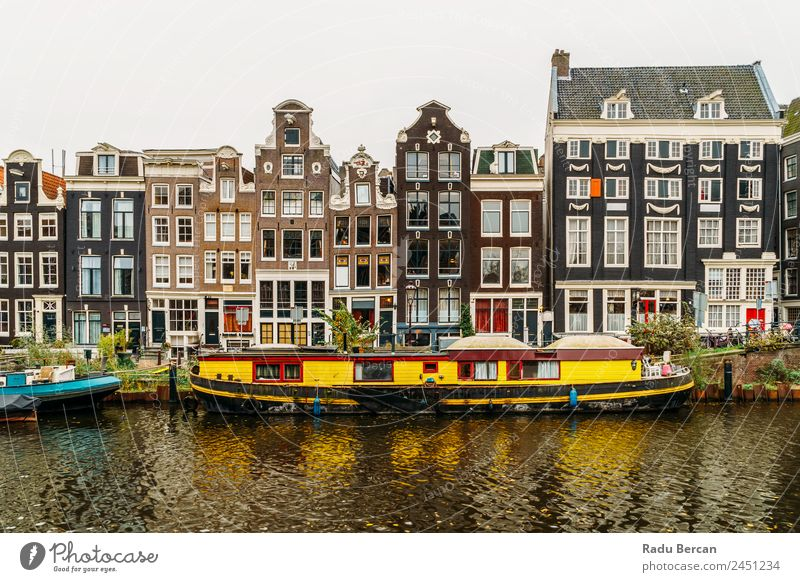 Architecture Of Dutch Houses Facade and Houseboats On Amsterdam Canal canal Netherlands City House (Residential Structure) Famous building Vacation & Travel