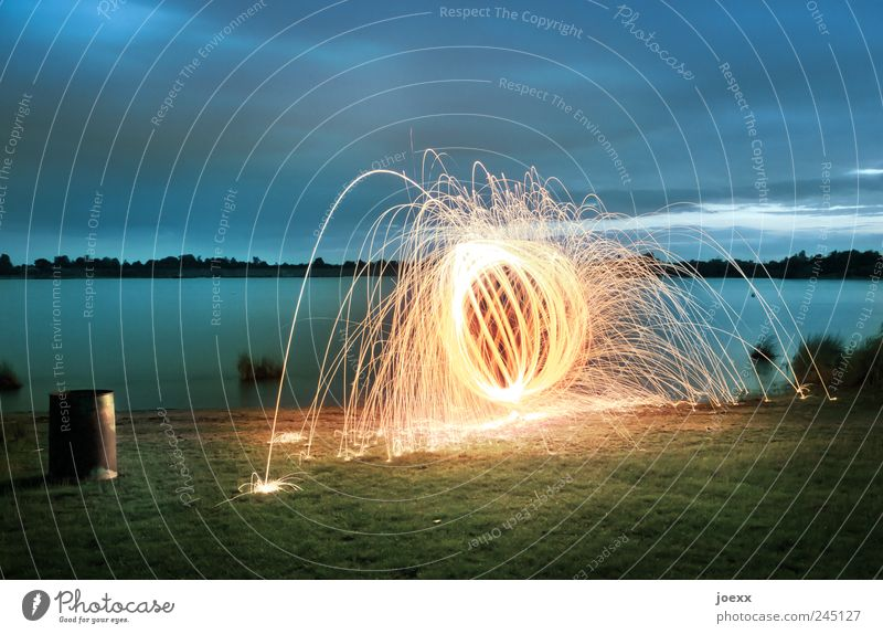 700° Water Sky Clouds Meadow Lakeside Bright Round Crazy Blue Yellow Green Colour Fireball Firecracker flying sparks Ball Circle Visual spectacle Colour photo