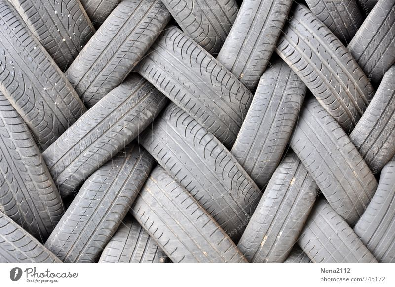 Gray Dirty Trash Wheel Workshop Motoring Tire tread Stack Garage Recycling Road traffic Rubber Heap Movement Bond