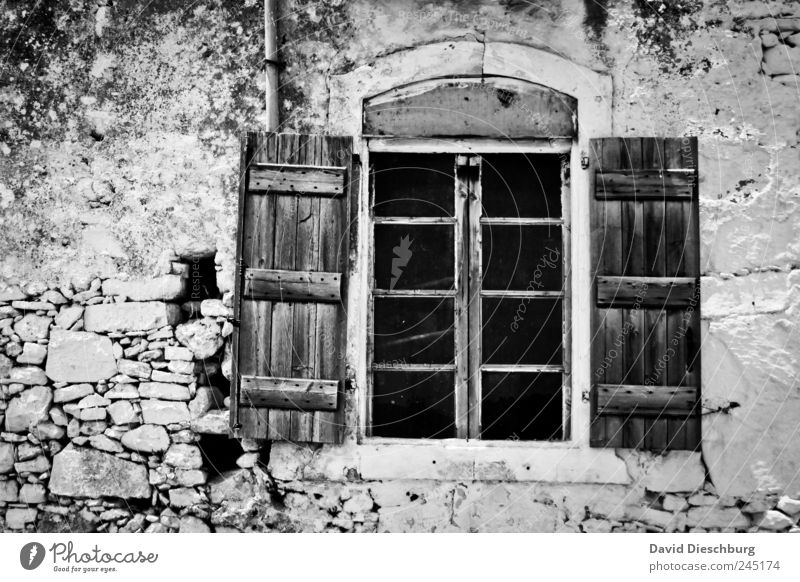 *600* / window House (Residential Structure) Ruin Wall (barrier) Wall (building) Facade Window Stone Wood Black White Rustic Open Shutter Window frame