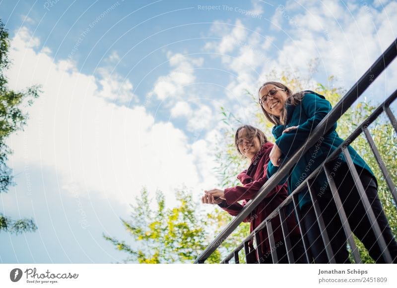 Human being Youth (Young adults) Young woman Blue Red Joy Lifestyle Feminine Laughter Style Happy Tourism Together Trip In pairs