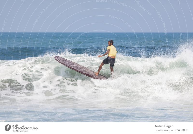 Surfer on longboard performing maneuver in white breaking wave Human being Vacation & Travel Ocean Beach Adults Sports Movement Leisure and hobbies Masculine