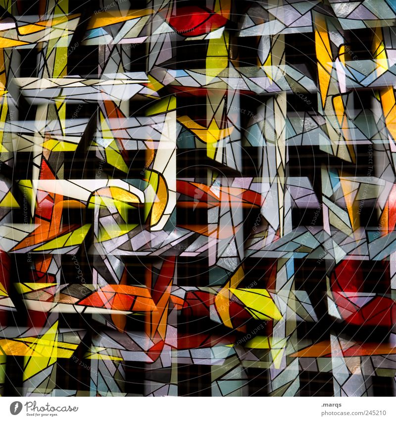 NETWORKING Lifestyle Style Design Art Window Glass Line Stripe Exceptional Hip & trendy Uniqueness Multicoloured Chaos Surrealism Church window Double exposure