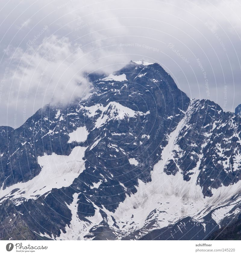 just a mountain Nature Landscape Clouds Storm clouds Climate Bad weather Gale Rain Thunder and lightning Rock Alps Mountain Peak Snowcapped peak Glacier Threat