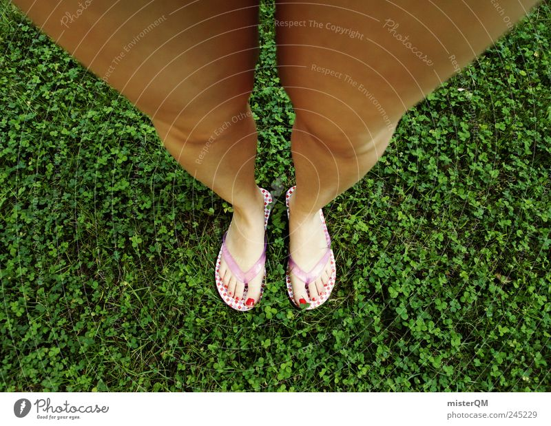 Point of view. Art Esthetic Under Perspective Footwear Woman Beach shoes Flip-flops Clover Legs Large Growth Puberty Fashion Crazy Fantastic Modern