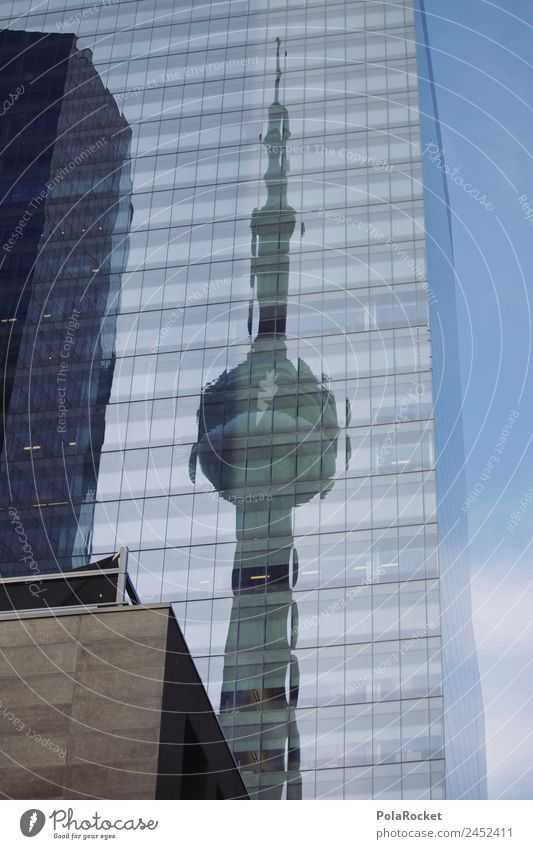#A# Toronto Art Esthetic Architecture Reflection Tower Facade City Canada Glazing Colour photo Subdued colour Exterior shot Detail Abstract Pattern Deserted