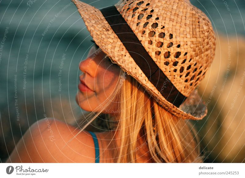 Human being Youth (Young adults) Blue Summer Beach Ocean Feminine Head Hair and hairstyles Dream Blonde Skin Gold Natural Dress Hat