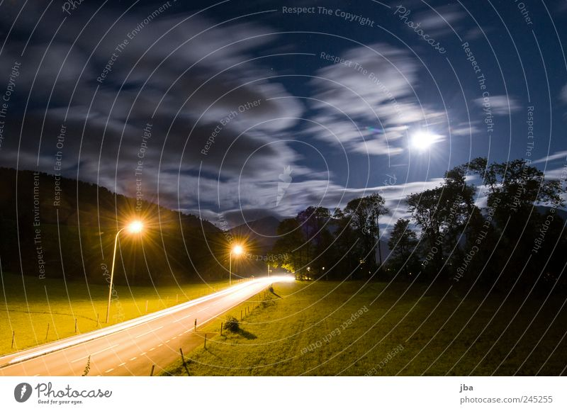 light sources Style Night life Sky Clouds Night sky Stars Moon Grass Alps Saanenland Gstaad Transport Traffic infrastructure Street Lantern Movement Driving