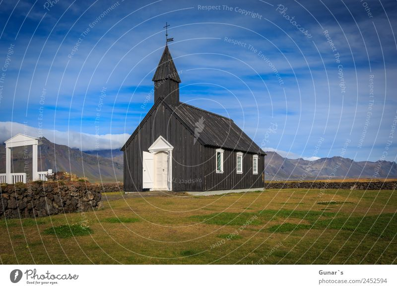 Black church in Budir, Icelandic wooden church with cemetery. Relaxation Calm Vacation & Travel Tourism Adventure Freedom Expedition Camping Summer Ocean