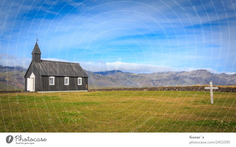 Black church in Budir, Icelandic wooden church with cemetery. Relaxation Calm Vacation & Travel Tourism Adventure Far-off places Freedom Camping Summer vacation