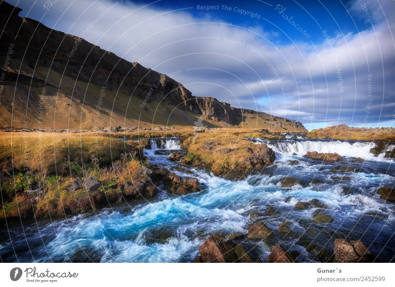 Turquoise coloured glacier river in Iceland with waterfall. Relaxation Calm Vacation & Travel Tourism Adventure Freedom Camping Summer vacation Mountain Hiking