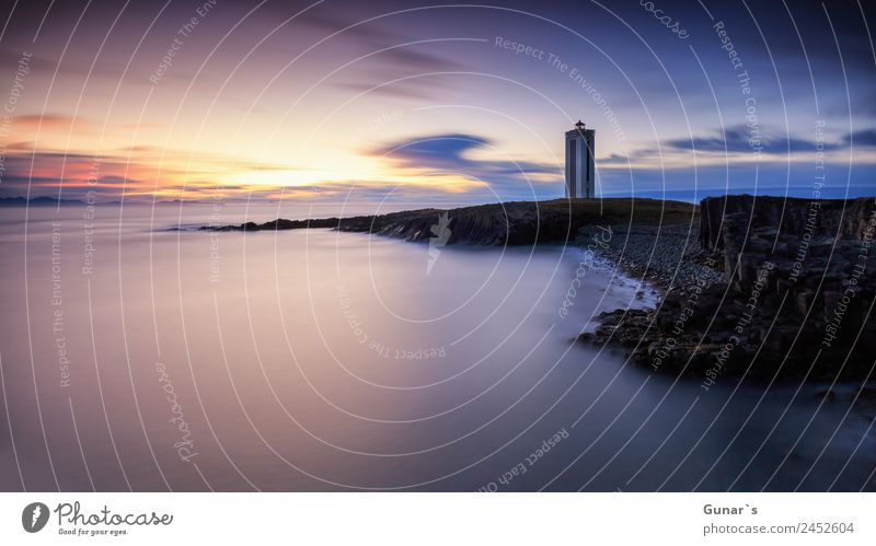 Lighthouse in Iceland. Panoramic view over the North Atlantic Ocean. Relaxation Calm Vacation & Travel Tourism Adventure Far-off places Freedom Camping Beach