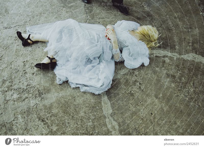 the bride lies on the ground about the groom's feet Human being Vacation & Travel Youth (Young adults) Young woman Beautiful 18 - 30 years Adults Lifestyle