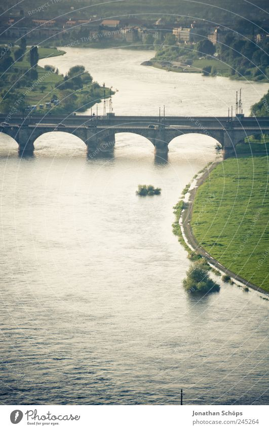 Water Blue Green City Calm Far-off places Relaxation Architecture Germany Gold Empty Bridge Europe River Manmade structures Dresden